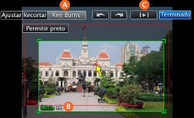 Imagem da janela de recorte e respectivos controlos