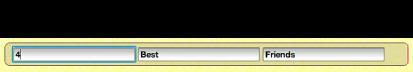 Imagem da barra de texto marcadora de posição com campos de texto activos.