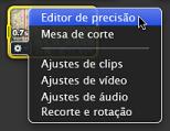 Imagem do menu instantâneo Acção com o Editor de precisão seleccionado.