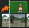Imagem de um clip de ecrã verde sobreposto sobre o clip de vídeo principal na biblioteca de projectos. O clip de ecrã verde fica realçado.