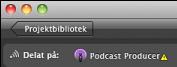 Podcast Producer-symbolen med varningssymbol.
