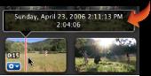 Information för uppspelningshuvudet visas ovanför ett videoklipp