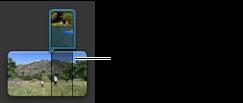 Ett bild-i-bild-klipp i projektbläddraren.