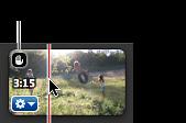 Handsymbol i hörnet av ett stabiliserat videoklipp