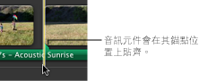 音訊剪輯片段中的錨點影像。