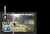 已加入穩定效果之視訊剪輯片段角落的手掌圖像