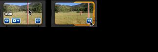 剪輯片段之橘色選取控制點的影像