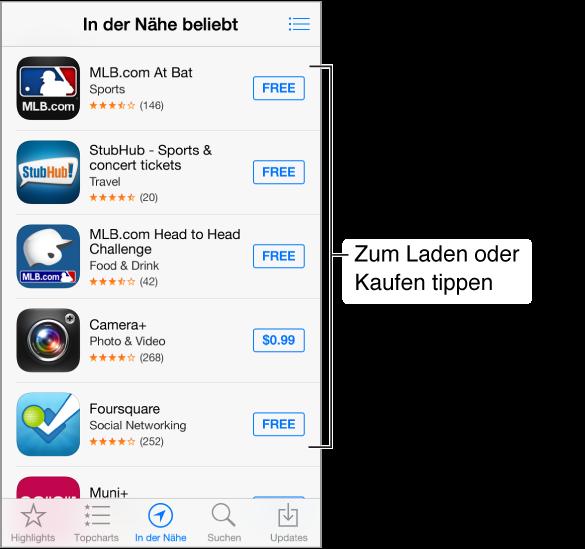 """Der Bildschirm """"In der Nähe"""" mit mehreren Apps für Baseballfans. Rechts oben befindet sich die Taste """"Wunschliste"""". Unten (von links nach rechts): """"Highlights"""", """"Topcharts"""", """"In der Nähe"""", """"Suchen"""" und """"Updates""""."""