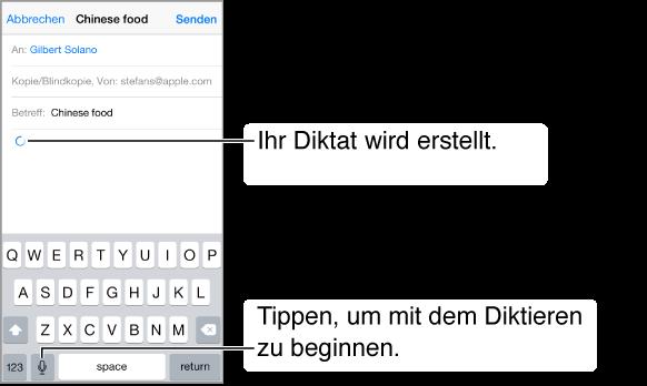Verfassen einer E-Mail-Nachricht. An der Stelle, an der der diktierte Text erscheint, wird ein Rundpfeil angezeigt. Auf der Tastatur wird die Diktiertaste links neben der Leertaste angezeigt.