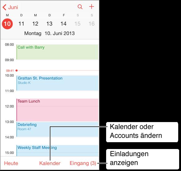 Ein Kalender mit der Tagesansicht. Tippen Sie auf die Kalender-Taste, wenn Sie zu einem anderen Kalender-Account wechseln wollen. Tippen Sie auf das Eingangsfach, um Einladungen an Sie zu sehen.