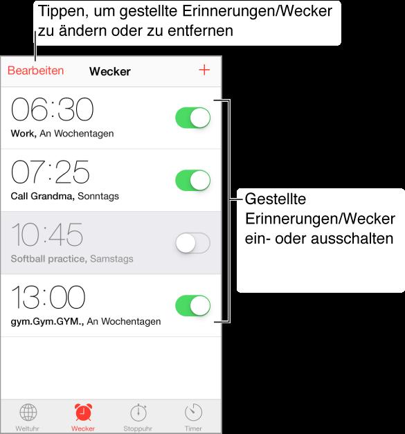 """Der Wecker-Bildschirm mit der Taste """"Bearbeiten"""" links oben und der Taste """"Hinzufügen(+) rechts oben. Vier horizontale Bänder mit den Zeitpunkten für vier Wecksignale für unterschiedliche Anlässe und Schaltern zum Ein- oder Ausschalten des jeweiligen Alarms. Unten (von links nach rechts): """"Weltuhr"""", """"Wecker"""", """"Stoppuhr"""" und """"Timer"""""""