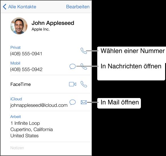 Der Informationsbildschirm für einen Kontakt. Tippen Sie auf einen Eintrag, zum Beispiel auf eine E-Mail-Adresse oder eine Website, um den Eintrag zu öffnen.