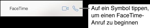 """Ausschnitt des Bildschirms """"Kontakte"""" mit den Tasten für Video- und für Audiotelefonate mit FaceTime"""