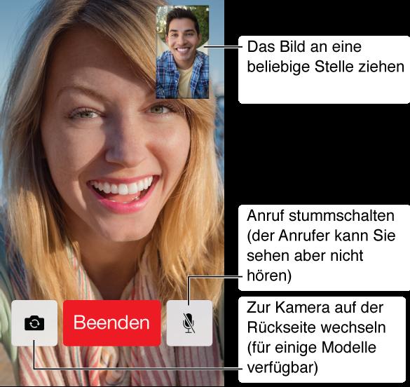 """Der FaceTime-Bildschirm während eines Videotelefonats mit dem Bild des Anrufers, das fast den gesamten Bildschirm einnimmt. Ihr Bild wird rechts oben angezeigt. Im unteren Bereich, von links nach rechts, befinden sich die Tasten """"Kamera wechseln"""", """"Beenden"""" und """"Stumm""""."""