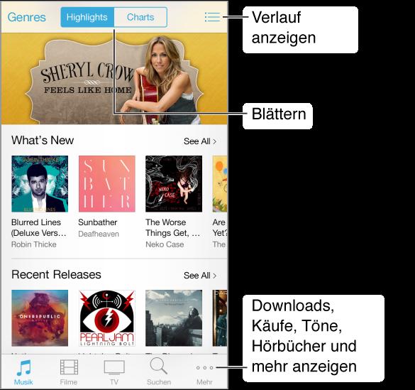 """Bildschirm mit Informationen über empfohlene Objekte. Links oben befindet sich die Taste """"Genre"""", in der Mitte oben befinden sich die Tasten """"Highlights"""" und """"Charts"""" und rechts oben befindet sich das Symbol """"Verlauf"""". Unten (von links nach rechts): """"Musik"""", """"Filme"""", """"TV-Sendungen"""", """"Suchen"""", """"Einkäufe"""" und """"Mehr""""."""