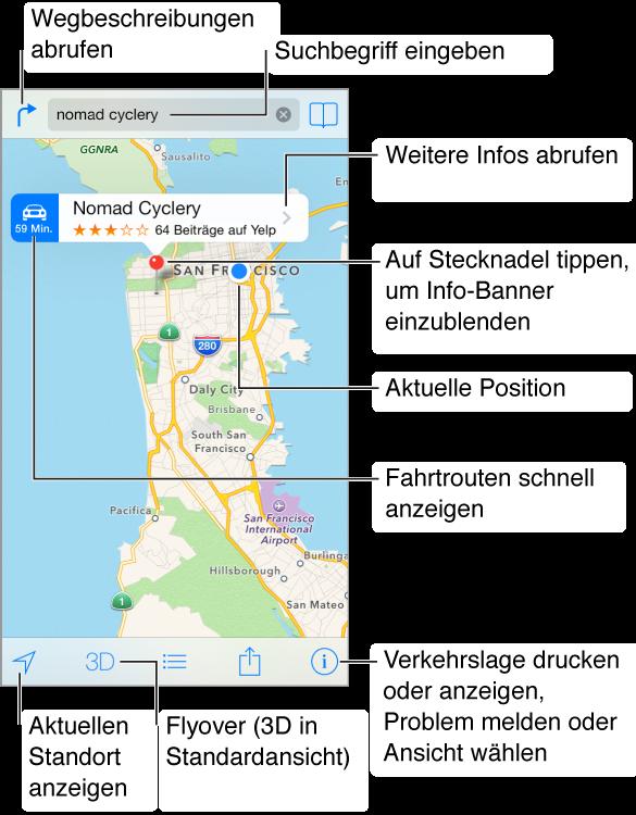 Karte mit einem Standort (durch rote Stecknadel gekennzeichnet). Über der Stecknadel befindet sich ein Banner, mit der Schnellroute links, der Ortsbezeichnung und einem Yelp-Bewertungsstern sowie der Anzahl der Kritiken und rechts der Taste für weitere Infos. Oben befinden sich links die Taste für Wegbeschreibungen, das Suchfeld in der Mitte und die Lesezeichentaste rechts. Am unteren Bildschirmrand befinden sich Tasten zum Abrufen weiterer Informationen, für die 3D-Darstellung, zum Abrufen von Wegbeschreibungen, zum Senden und zum Festlegen der Einstellungen.