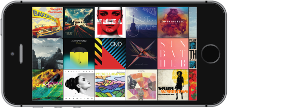 iPhone in horizontaler Position mit der Albumübersicht.