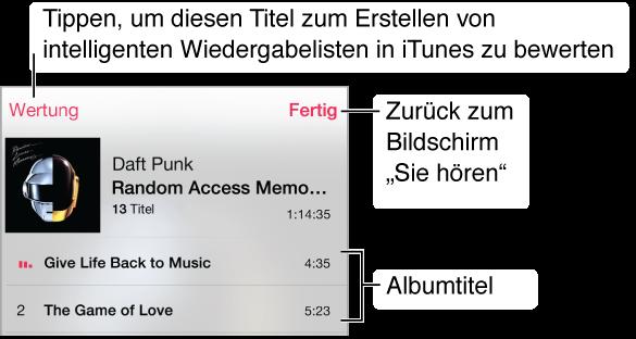 """Ein Ausschnitt des Titellisten-Bildschirms mit Titeln für das aktuelle Albumcover. Durch Tippen auf """"Wertung"""" können Sie einen Musiktitel bewerten, um intelligente Wiedergabelisten zu erstellen. Tippen Sie auf """"Fertig"""", um zum Bildschirm """"Sie hören"""" zurückzukehren."""
