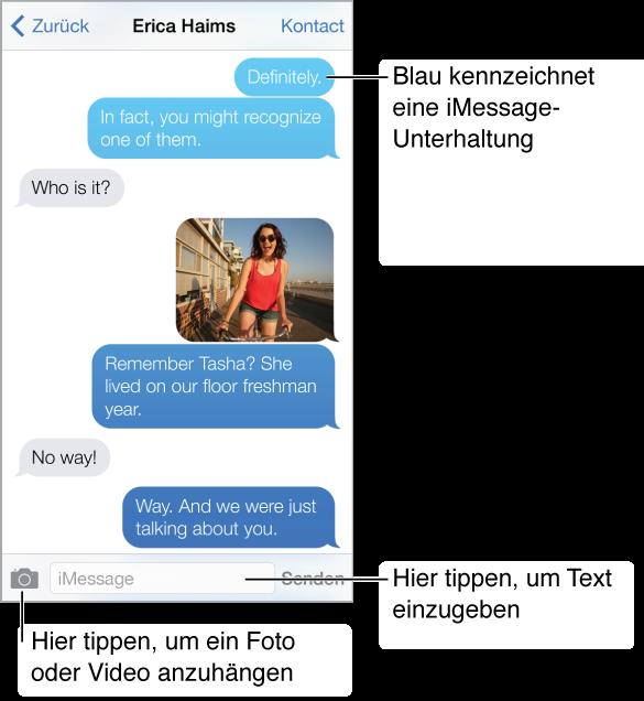 """Unterhaltung per Textnachrichten. Ganz oben erscheint die Titelleiste mit dem Namen der Person, mit der Sie Textnachrichten austauschen, und mit den Tasten """"Nachrichten"""" und """"Kontakt"""". Unter der Titelleiste erscheinen die Textnachrichten, die während einer Unterhaltung gesendet und empfangen werden, und ein Foto, das in die Unterhaltung integriert wurde. Unten auf dem Bildschirm befinden sich (von links nach rechts) die Taste """"Medium"""", ein Feld für die Texteingabe und die Taste """"Senden""""."""