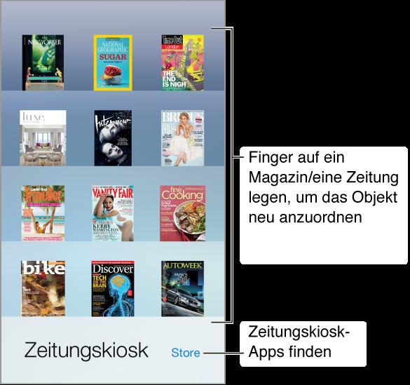 """Das Regal des Zeitungskiosks mit Apps. Legen Sie Ihren Finger auf einen Link, um die Apps im Regal neu anzuordnen. Tippen Sie auf die Taste """"Store"""" unten rechts, wenn Sie nach für den Zeitungskiosk geeigneten Apps suchen wollen."""