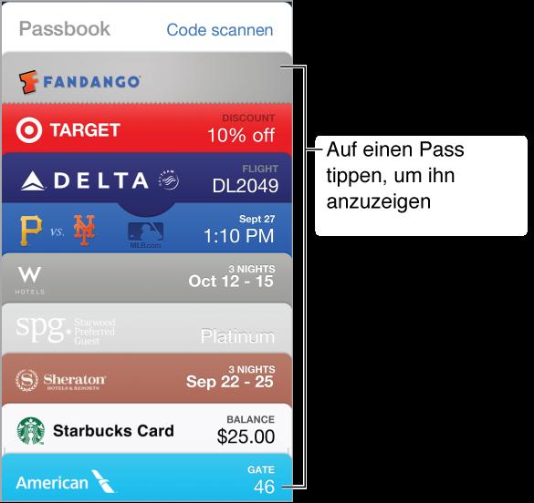 Passbook-App mit verschiedenen aufgelisteten Karten
