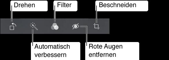 """Zu den Bearbeitungsoptionen gehören das Drehen, die Funktion """"Verbessern"""", Filter, die Rote-Augen-Korrektur und das Beschneiden."""