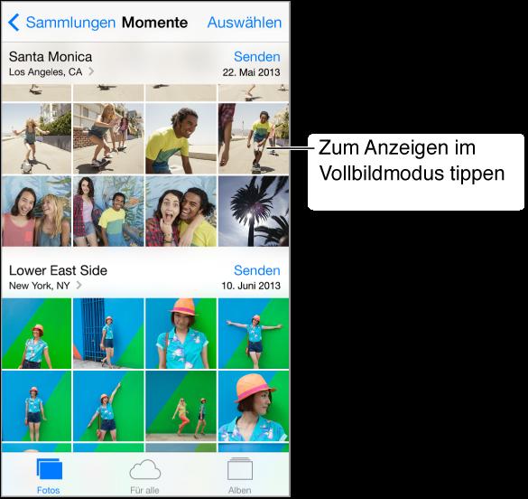 """Ansicht """"Momente"""" von Fotos. Links oben befindet sich die Taste """"Sammlungen"""", rechts oben die Taste """"Auswählen"""". Entlang des unteren Bildschirmrands sind die Tasten """"Fotos"""", """"Freigaben"""" und """"Alben"""" zu sehen."""