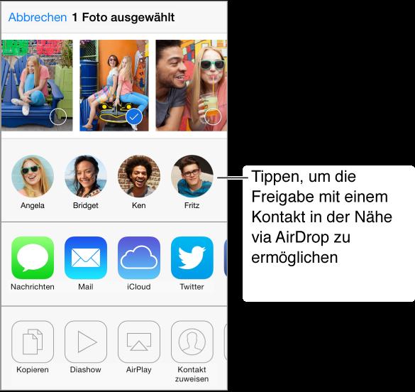 """Bildschirm """"Freigaben"""" mit Fotos im oberen Bereich und mit per AirDrop erreichbaren Freunden und mit Optionen zum Senden oder Freigeben darunter. Am unteren Bildschirm werden Tasten für weitere mögliche Aktionen angezeigt."""
