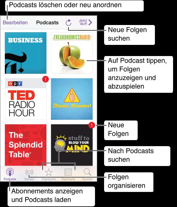 """Tippen Sie auf """"Meine Podcasts"""", um die von Ihnen abonnierten und geladenen Podcasts anzuzeigen. Tippen Sie auf einen Podcast, um ihn wiederzugeben und einzelne Folgen abzuspielen. Tippen Sie auf die Taste """"Aktualisieren"""", um zu prüfen, ob neue Folgen verfügbar sind. Tippen Sie auf """"Empfohlen"""" oder auf """"Topcharts"""" unten auf dem Bildschirm, um nach neuen Podcasts zu suchen."""