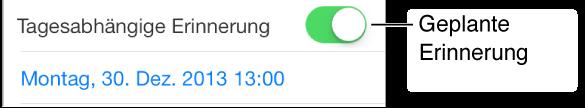 """Ein Teil des Bildschirms für Erinnerungen mit der aktivierten Option """"Tagesabhängige Erinnerung"""" und darunter dem Zeitpunkt aus Datum und Uhrzeit, zu der die Erinnerung erfolgen soll."""