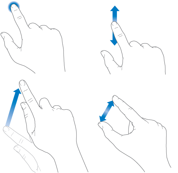 Hands showing the tap gesture with a single finger, the drag gesture with the finger moving down and up but not lifting from the surface, the swipe gesture, where the finger moves upward and lifts, and the pinch and stretch gesture where two fingers move toward or away from each other on the Multi-Touch screen.