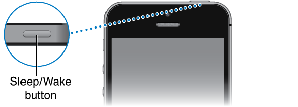 The upper portion of iPhone with a close-up of the Sleep/Wake button.