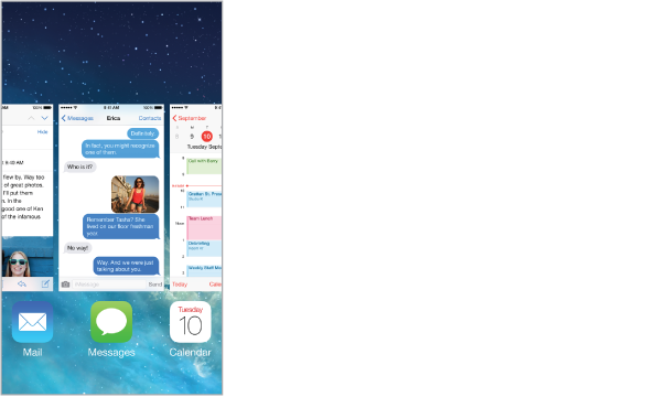 View of running apps, with a row of app icons along the bottom and the current screen for each app appearing above its icon.