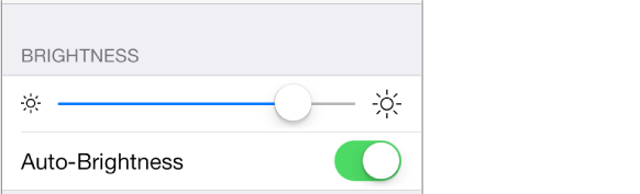 Brightness slider and Auto-Brightness on/off settings.