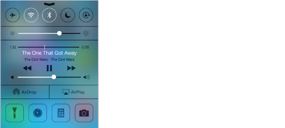 Control Center, with airplane mode, wi-fi, Bluetooth, Do Not Disturb, and Portrait Lock buttons along top, screen brightness control beneath, Now Playing info under that with audio playback controls, AirDrop and AirPlay buttons below that, and at the bottom, flashlight, clock, calculator, and camera buttons.