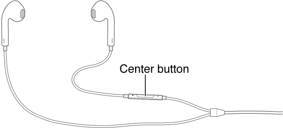 Headset, with center button on the cord to the right earpiece.