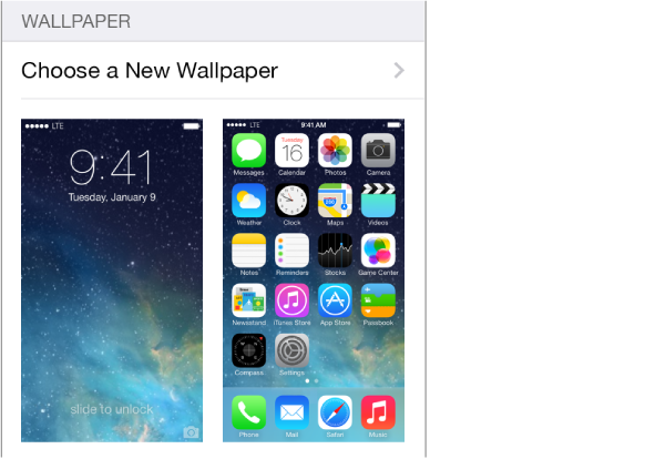 Image of the Lock screen and Home screen showing the current wallpaper.