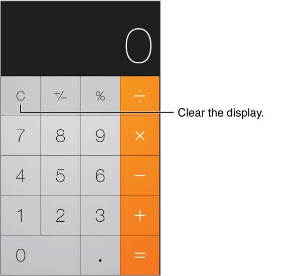 Calculator screen showing standard functions and numeric keypad. Tap the Clear key to clear the results.