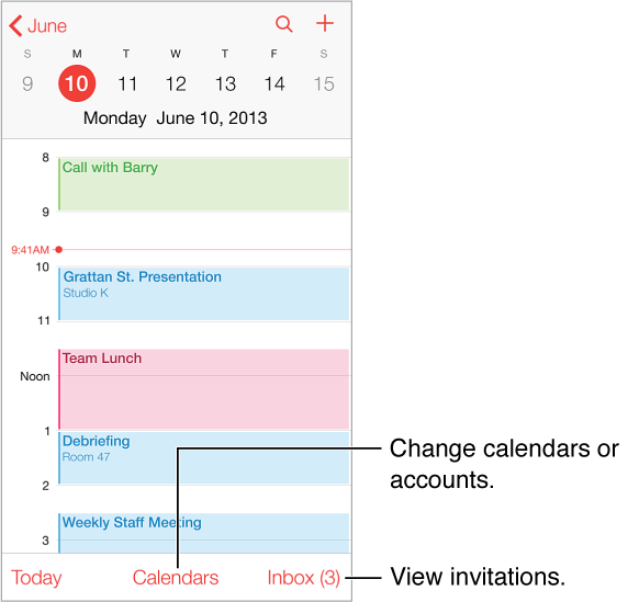 A calendar in day view. Tap the Calenders button to change calendar accounts. Tap inbox to view invitations.