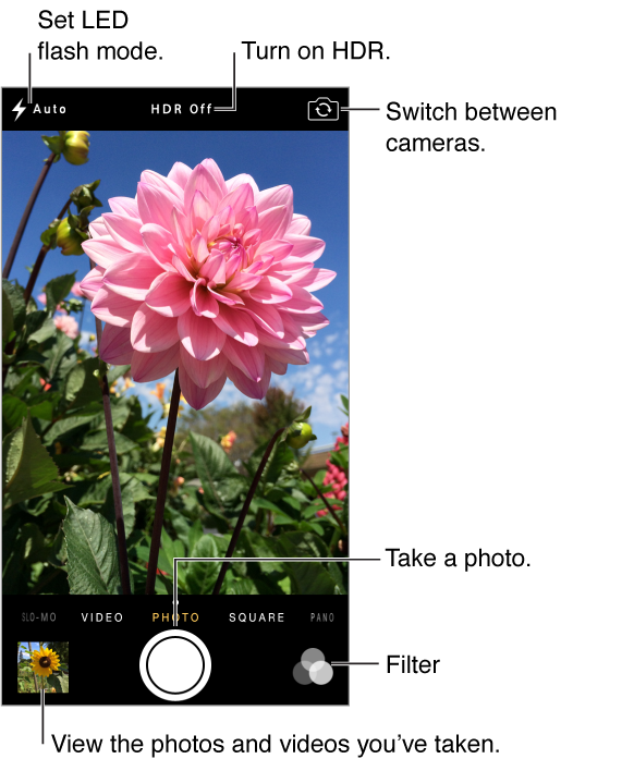 Camera in Photo mode. Slide the screen left or right to switch between modes. The flash mode, HDR, and Switch Camera buttons appear at the top. Tap the thumbnail at the lower-left to view the photos and videos you've taken. Shutter button is at bottom-center. Filter button at lower-right.