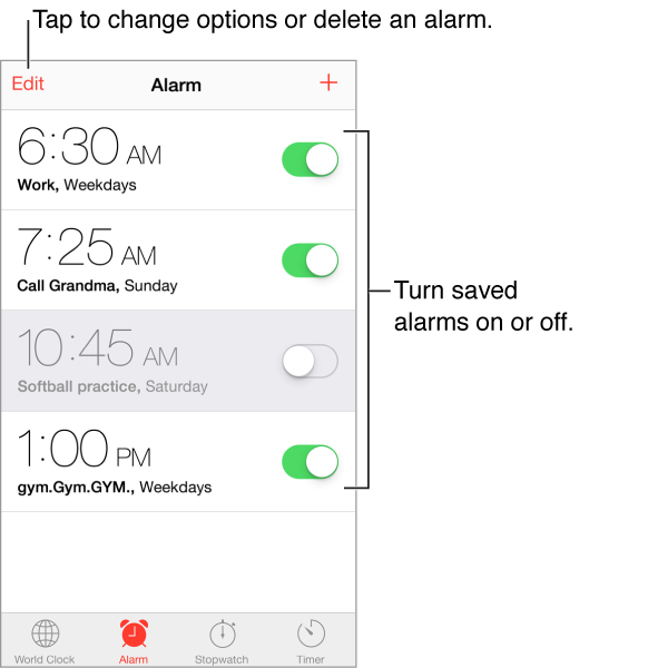 The Alarm screen, with Edit button in the upper-left corner and Add button in the upper-right corner. Four horizontal bands display alarms for four purposes with on/off toggles for each alarm. Along the bottom, from left to right, are the World Clock, Alarm, Stopwatch, and Timer tabs.
