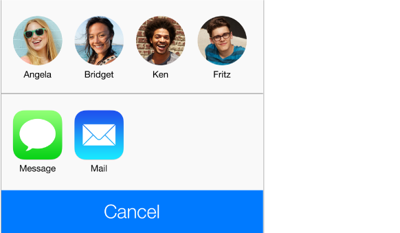 The sharing panel, showing four people within range for AirDrop, and buttons for sharing using Messages or Mail.