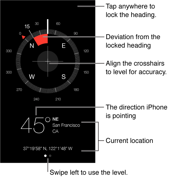 Compass tells you the direction iPhone is pointing. To find the direction you're facing, hold iPhone flat and point it away from you, with the Home button nearest to you. To use a level, swipe to the second page.