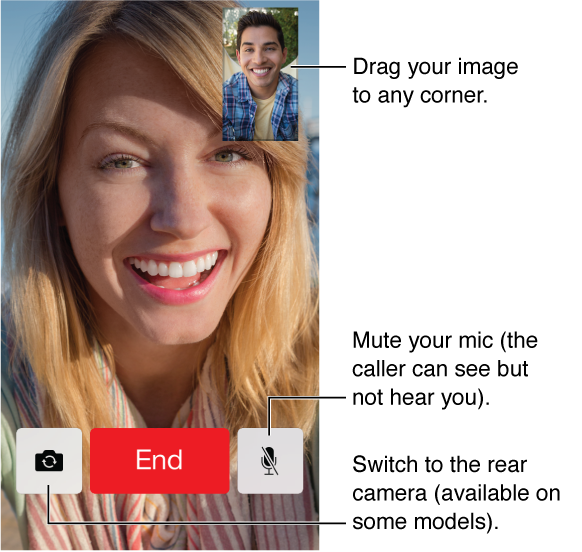 The FaceTime screen showing a call in progress and the caller's face filling most of the screen. Your image is in the upper right. Across the bottom, from left to right, are the Switch Camera, End, and Mute buttons.