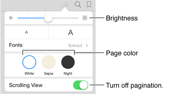 The appearance menu showing controls for brightness, page color, and scrolling view.