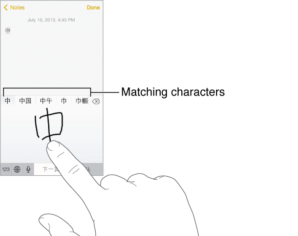 The Notes application with the lower half of the screen showing the touchpad. The forefinger of a hand is drawing a Chinese character. Suggested characters just above, and the chosen character displays at the top.