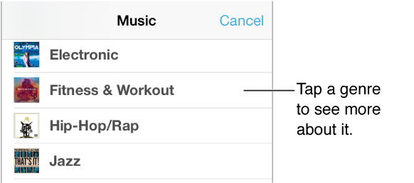 Part of the Music Genres screen showing a subset of genres with a check next to Fitness & Workout.