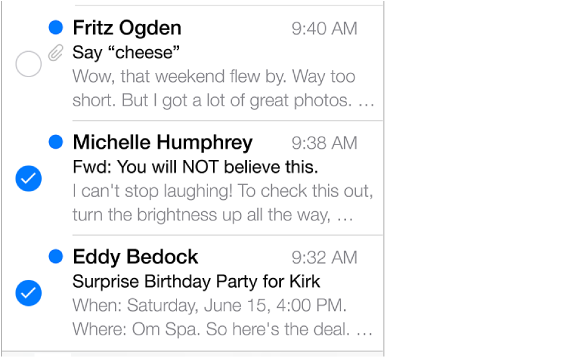 A partial inbox list showing three messages, two of which are marked with checkmarks.