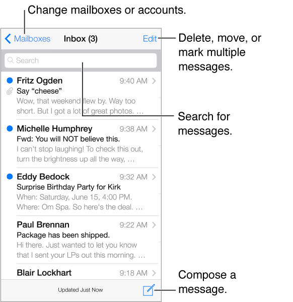 A list of messages. Tap Edit to delete, move, or mark multiple messages.