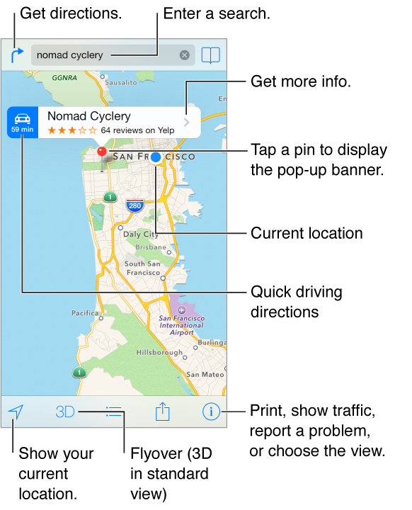 Maps showing a location (indicated by a red pin). Above the pin is a banner, with Quick driving directions on the left, the name of the location and Yelp star rating and number of reviews, and the More Info button on the right. At the top are the Get directions button on the left, the search field in the center, and the bookmark button on the right. Along the bottom are tracking, 3D view, directions, share, and settings buttons.